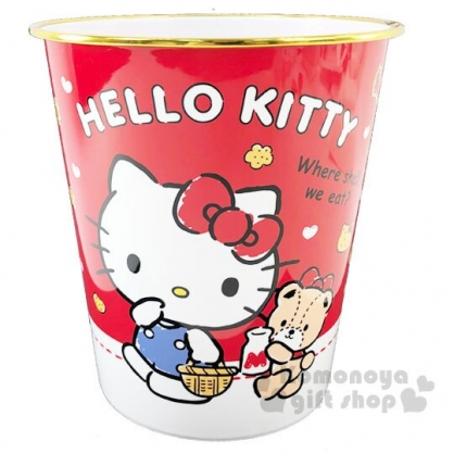 〔小禮堂〕Hello Kitty 圓形無蓋垃圾桶《紅.吃餅乾》書報桶.收納桶.置物桶