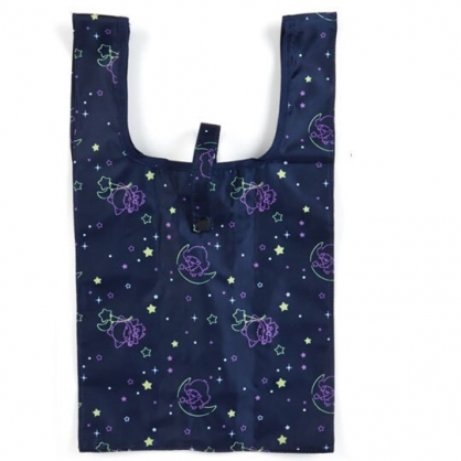 〔小禮堂〕雙子星 折疊尼龍環保購物袋《深藍.星星》手提袋.環保袋