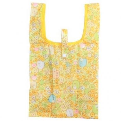 〔小禮堂〕角落生物 折疊尼龍環保購物袋《黃綠.花朵》手提袋.環保袋