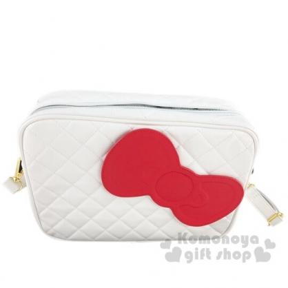 〔小禮堂〕Hello Kitty 方形皮質菱格紋拉鍊斜背包《白.蝴蝶結》小方包.側背包