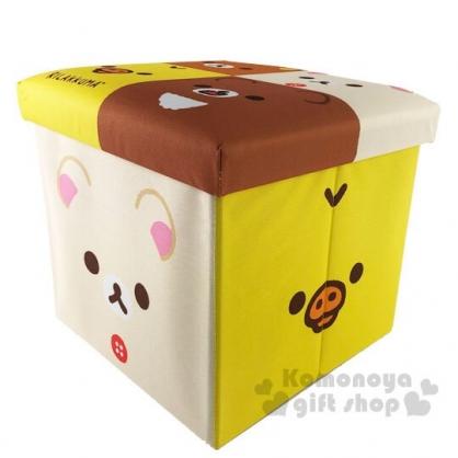 〔小禮堂〕懶懶熊 拉拉熊 折疊方形尼龍拿蓋收納箱《棕黃.大臉》置物箱.玩具箱