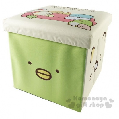 〔小禮堂〕角落生物 折疊方形尼龍拿蓋收納箱《藍米.大臉》置物箱.玩具箱