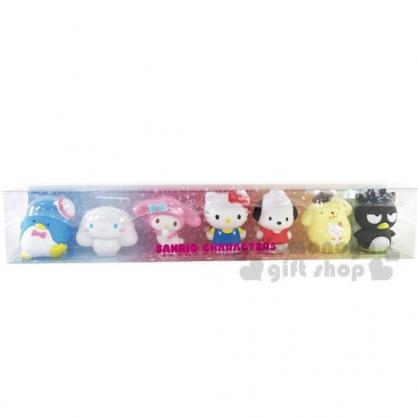 〔小禮堂〕Sanrio大集合 迷你矽膠公仔玩具組《7入.透明盒裝》模型.擺飾