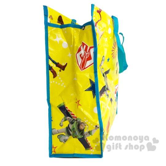 〔小禮堂〕迪士尼 玩具總動員4 方形防水拉鍊購物袋《黃藍.角色》棉被袋.衣物收納袋