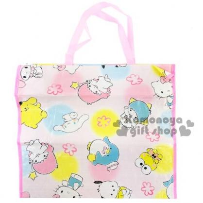 〔小禮堂〕Sanrio大集合 方形防水拉鍊購物袋《粉白.角色》棉被袋.衣物收納袋