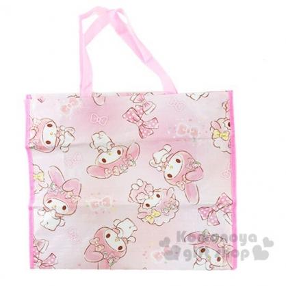 〔小禮堂〕美樂蒂 方形防水拉鍊購物袋《粉白.蝴蝶結》棉被袋.衣物收納袋