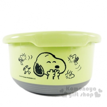 〔小禮堂〕史努比 防滑不鏽鋼隔熱碗附蓋《綠.遮嘴笑》720ml.便當盒