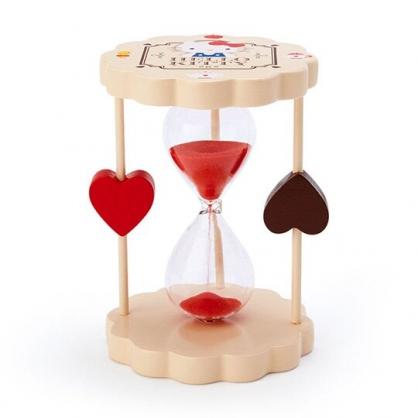 〔小禮堂〕Hello Kitty 迷你造型木製單管沙漏《棕紅.下午茶》3分鐘.計時器