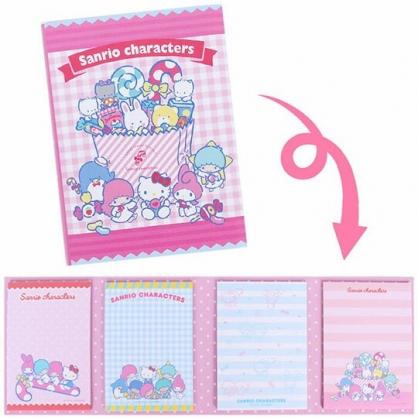 〔小禮堂〕Sanrio大集合 日製方形多折便條本《粉》便條紙.留言紙.夢幻糖果店系列