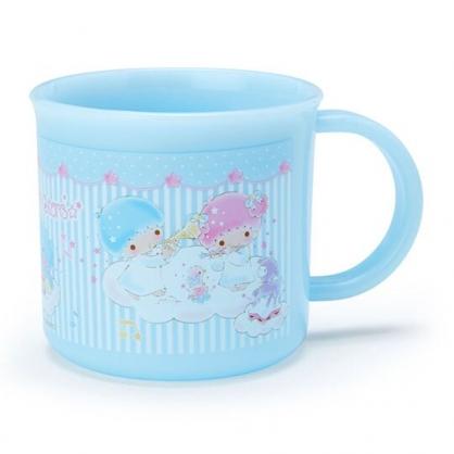 〔小禮堂〕雙子星 日製單耳塑膠小水杯《藍白》200ml.漱口杯.茶杯.雲朵音符系列
