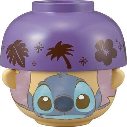〔小禮堂〕迪士尼 史迪奇 日製陶瓷湯茶碗組《2入.紫棕.大臉》飯碗.湯碗.茶杯
