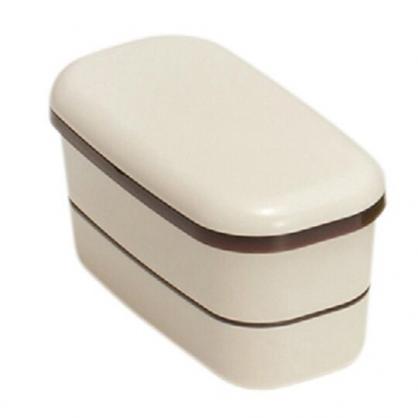 〔小禮堂〕山田化學 日製方形塑膠雙層便當盒《米棕》保鮮盒.食物盒.餐盒