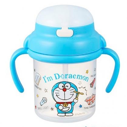 〔小禮堂〕哆啦A夢 幼兒彈蓋塑膠雙耳學習杯《藍.竹蜻蜓》270ml.水杯.兒童水壺