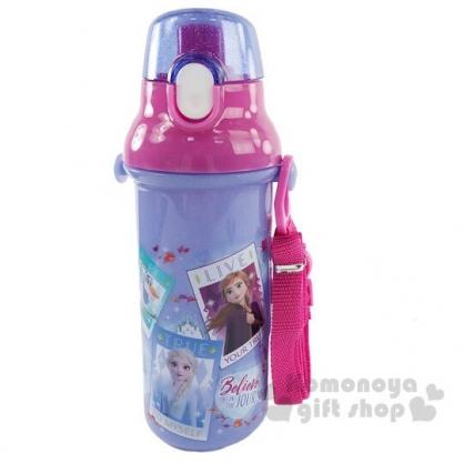 〔小禮堂〕迪士尼 冰雪奇緣 日製直飲式水壺附背帶《紫.相框》480ml.水瓶.兒童水壺