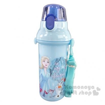 〔小禮堂〕迪士尼 冰雪奇緣 日製直飲式水壺附背帶《藍.仰望》480ml.水瓶.兒童水壺