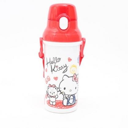 〔小禮堂〕Hello Kitty 日製直飲式水壺附背帶《紅白.塗鴉小熊》480ml.水瓶.兒童水壺