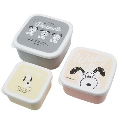 〔小禮堂〕史努比 日製方形保鮮盒組《3入.灰白.抱頭》便當盒.餐盒