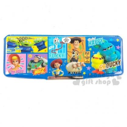 〔小禮堂〕迪士尼 玩具總動員4 雙開多功能鉛筆盒《藍黃.格圖》筆袋.學童文具