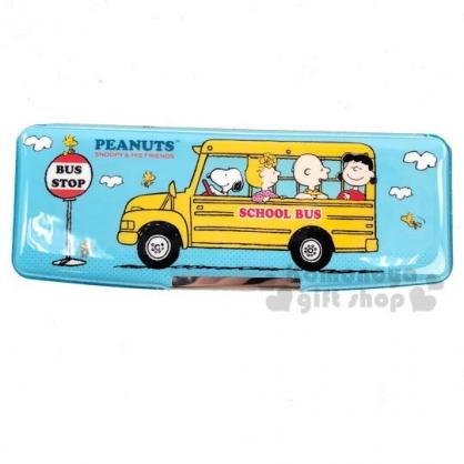 〔小禮堂〕史努比 雙開多功能鉛筆盒《藍黃.巴士》筆袋.學童文具