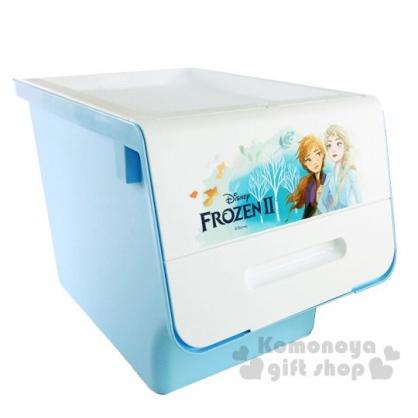 〔小禮堂〕迪士尼 冰雪奇緣 可堆疊塑膠前開式掀蓋收納箱《藍白.搭肩》30L.衣物箱.玩具箱.置物箱
