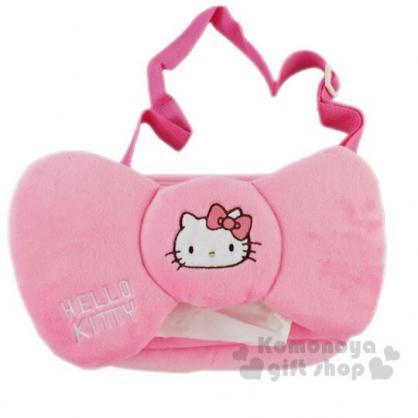 〔小禮堂〕Hello Kitty 車用蝴蝶結造型絨毛面紙套《粉》面紙盒.紙巾套.汽車百貨.蝴蝶結系列