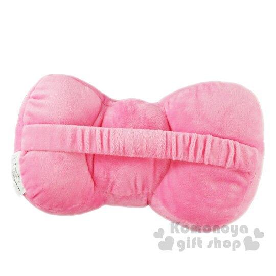 〔小禮堂〕Hello Kitty 車用蝴蝶結造型絨毛頸枕《粉》靠枕.汽車百貨.蝴蝶結系列