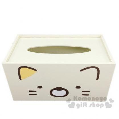 〔小禮堂〕角落生物 貓咪 木製滑蓋面紙盒《黃.大臉》紙巾盒.收納盒
