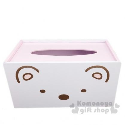 〔小禮堂〕角落生物 北極熊 木製滑蓋面紙盒《白.大臉》紙巾盒.收納盒