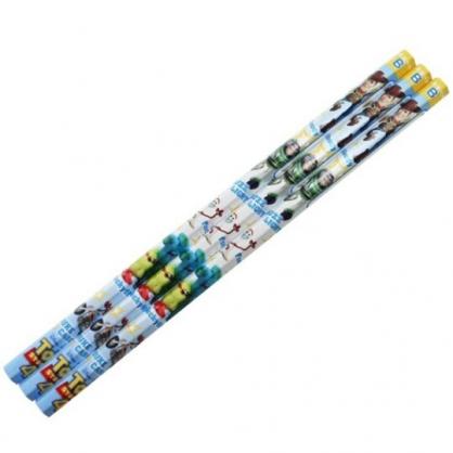 〔小禮堂〕迪士尼 玩具總動員 日製六角鉛筆組《3入.藍黃.跑步》B鉛筆.學童文具