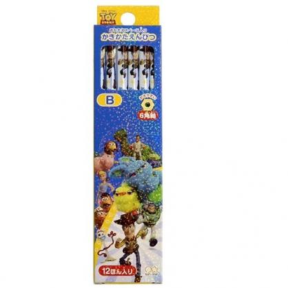 〔小禮堂〕迪士尼 玩具總動員 日製六角鉛筆組《12入.藍黃.跑步》B鉛筆.學童文具
