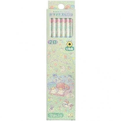 〔小禮堂〕雙子星 日製六角鉛筆組《12入.綠粉.盪鞦韆》2B鉛筆.學童文具