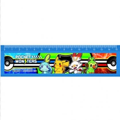 〔小禮堂〕神奇寶貝Pokemon皮卡丘 日製透明塑膠尺《綠黃.排站》15cm.量尺.直尺