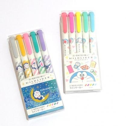 〔小禮堂〕哆啦A夢 日製雙頭螢光筆組《5色.半臉》彩色筆.記號筆
