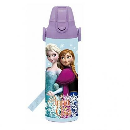 〔小禮堂〕迪士尼 冰雪奇緣 彈蓋不鏽鋼保溫瓶附背帶《藍紫.勾手》600ml.水壺.水瓶