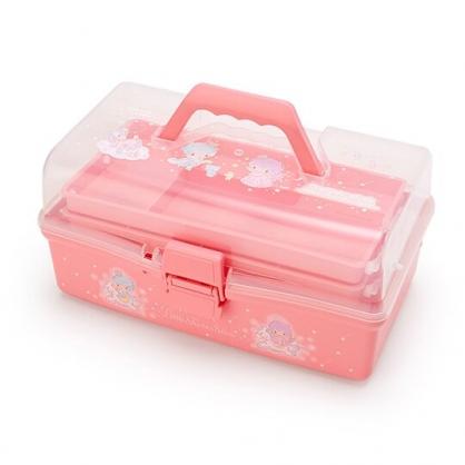 〔小禮堂〕雙子星 透明塑膠三層掀蓋手提收納箱《粉》工具箱.置物箱.星星皇冠系列