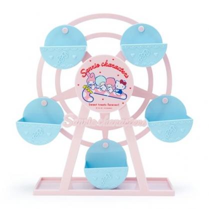 〔小禮堂〕Sanrio大集合 摩天輪造型塑膠旋轉收納盒《粉藍》置物盒.飾品盒.夢幻糖果店系列
