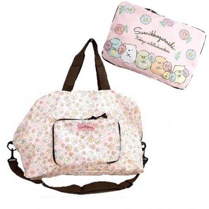 〔小禮堂〕角落生物 折疊尼龍拉桿行李袋《粉棕.拿花朵》旅行袋.側背袋