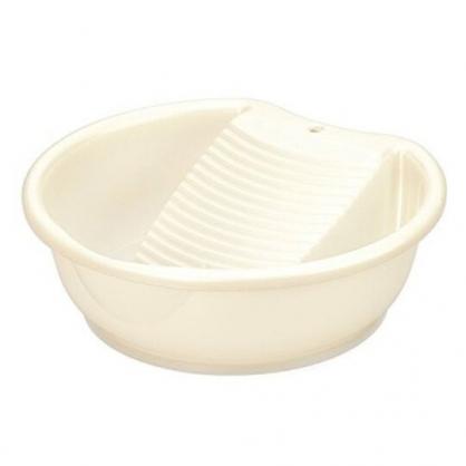 〔小禮堂〕日本INOMATA 日製塑膠可搓洗洗衣盆《米》3.7L.水盆.洗衣板