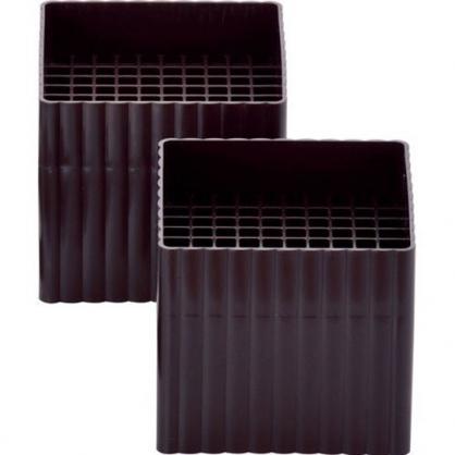 〔小禮堂〕日製方型塑膠桌角高度調節器《2入.黑棕》桌腳套.傢俱墊高器