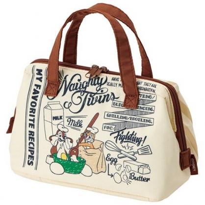 〔小禮堂〕迪士尼 奇奇蒂蒂 硬式支架尼龍保冷便當袋《黃棕.廚師》保冷袋.野餐袋.手提袋