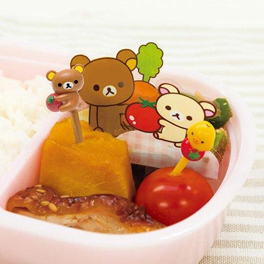 〔小禮堂〕懶懶熊 拉拉熊 造型塑膠食物裝飾叉組《6入.棕黃.番茄》甜點叉.水果叉