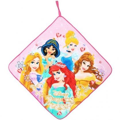 〔小禮堂〕迪士尼 公主 可掛式純棉割絨擦手巾《粉黃.禮服》33x33cm.毛巾