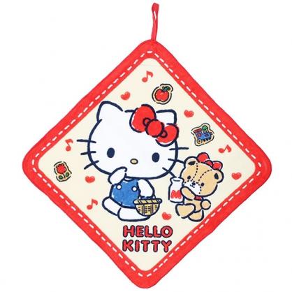 〔小禮堂〕Hello Kitty 可掛式純棉割絨擦手巾《黃紅.手提籃》33x33cm.毛巾