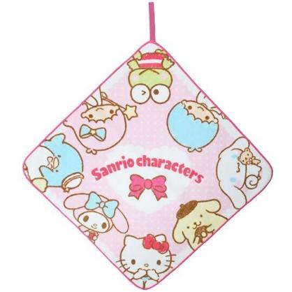 〔小禮堂〕Sanrio大集合 可掛式純棉割絨擦手巾《粉白.圍繞》33x33cm.毛巾