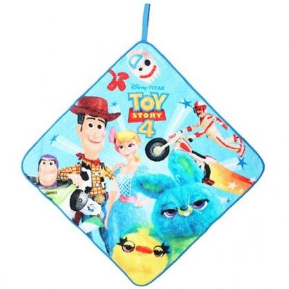 〔小禮堂〕迪士尼 玩具總動員4 可掛式純棉割絨擦手巾《藍黃.角色》33x33cm.毛巾