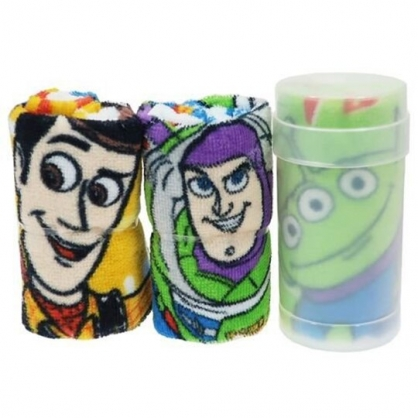 〔小禮堂〕迪士尼 玩具總動員 純棉割絨方形毛巾組附罐《3入.綠棕.大臉》30x30cm.手帕.毛巾罐