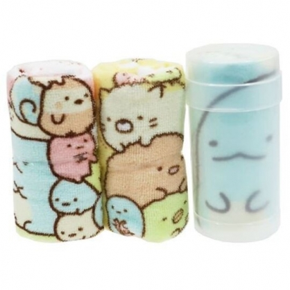 〔小禮堂〕角落生物 純棉割絨方形毛巾組附罐《3入.綠黃.夾娃娃》30x30cm.手帕.毛巾罐