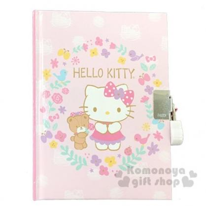 〔小禮堂〕Hello Kitty 迷你左翻硬殼筆記本附造型鎖《粉.愛心花圈》記事本.交換日記