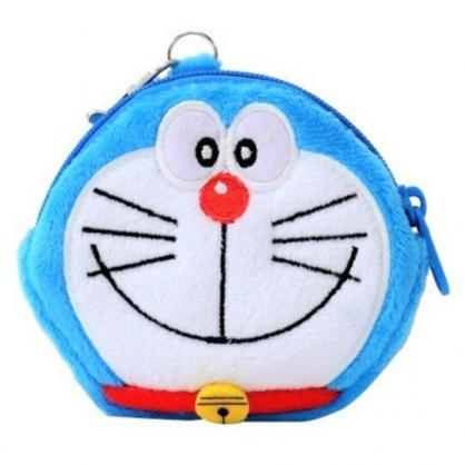 〔小禮堂〕哆啦A夢 大臉造型絨毛掛飾零錢包《藍》耳機包.收納包.吊飾