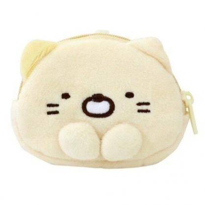 〔小禮堂〕角落生物 貓咪 大臉造型絨毛掛飾零錢包《黃》耳機包.收納包.吊飾